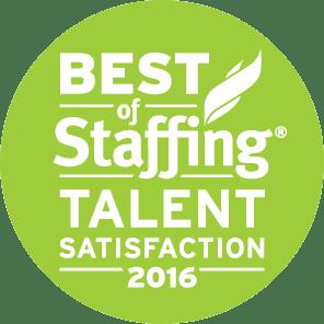 Medstaff's Best of Staffing Talent Satisfaction 2016 Award